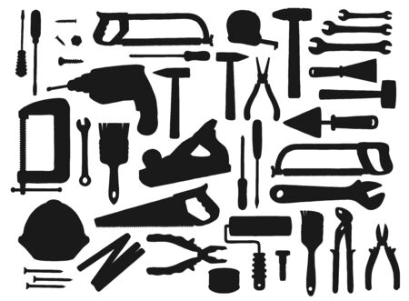 Construction tools black silhouettes, vector equipment for repair works. Hammer, screwdriver and wrench, pliers, spanner and roller. Drill, saw, trowel and screw, tape measure, helmet and vice set