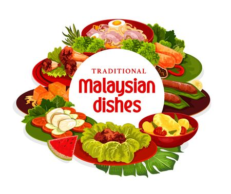 Malaysian cuisine dishes vector banner. Meat stew, fish curry and banana dessert, meat pies, noodle soup and grilled chicken, pumpkin in coconut milk. Malaysian cuisine meals, meat and vegetables