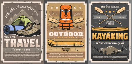 Travel, rafting, trekking and kayaking sports vector posters. Active leisure, camping outdoor adventure. Sport camp or club with travel mat and tents, boat and life vest, kayak and oars Ilustrace
