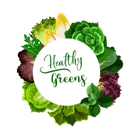 Salads and veggies round vector frame. Cress salad, belgian endive and chicory, bok choy or pak choy, chard and arugula, spinach and sorrel, iceberg lettuce and cabbage. Healthy greenery Ilustracja