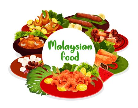Malaysian cuisine food menu vector round banner. Fried shrimps, pies baked with meat and grilled chicken legs, banana dessert, stuffed crab claws and hot Devils meat with cucumber, pineapple salad