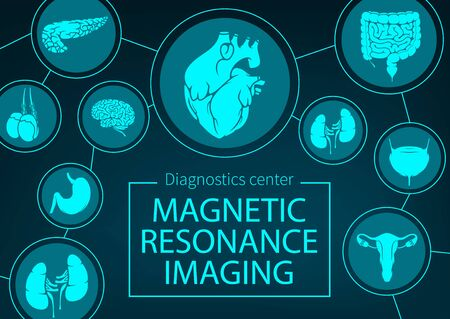 MRI of organs and joints medicine. Vector magnetic resonance imaging medical diagnostics. Healthcare clinic x-ray radiology, MRI analysis, diagnostics of digestive, respiratory and urogenital system