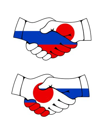 Handshake with flags of Japan and Russia, vector Asian and European countries partnership. Japanese and Russian Federation peace treaty, diplomacy agreements and financial cooperation concept  イラスト・ベクター素材