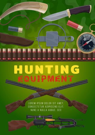 Hunting equipment, vector rifles, crossbow and horn, knife, compass, cartridge belt and trap. Sheath, shotgun and weapon bullets. Hunter sport ammunition on green camouflage background Vetores