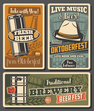 Beer and brewery, Oktoberfest craft beer fest celebration. Bavarian hat, wooden cup and barrel, malt and hop, glass bottle and jar. Alcohol drinks age restriction, tavern or pub vintage vector cards