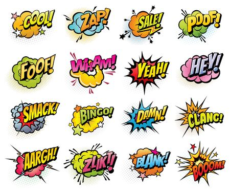 Comics speech bubbles and sound blast isolated vector icons set. Cartoon pop art bubbles of boom, bingo or bang sounds. Yeah or cool and zap, sale, damn and clang comics blast explosions and flash