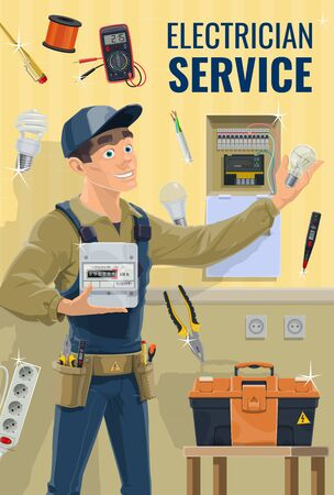 Electrician with equipment and work tools, vector. Electrician or lineman in uniform hold electricity meter and light bulb. Tools, toolbox, sockets and voltage dashboard on wall Illustration