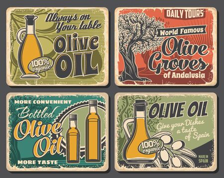Olive oil bottles, tree and fruits. Vector. Extra virgin cooking oil in jug and bottle, ripe olives on tree branch. Mediterranean Italian, Spanish or Greek cuisine natural product and agriculture