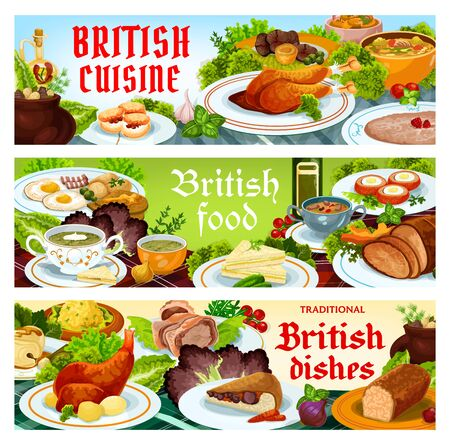 Britain cuisine vector food cod with sauce, scotch smoked trout plate. Christmas turkey, english kidney soup, beef wellington or scones. Scottish eggs, broccoli and vegetable puree dishes banners set Stok Fotoğraf - 147723791