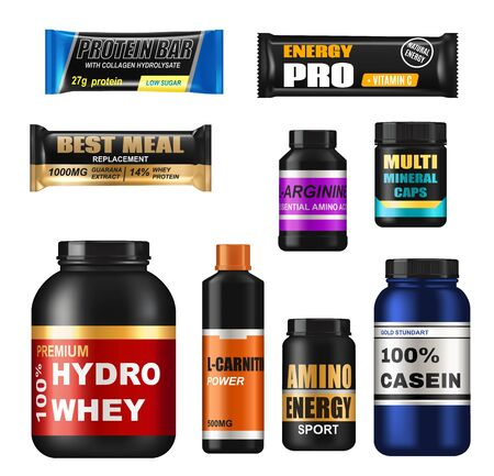 Sport nutrition realistic jars, isolated 3d vector protein supplements. Set of sports food bottles and low sugar protein bars. Fitness nutrition, vitamines, l-carnitne, caseine capsules and hydro whey Ilustración de vector