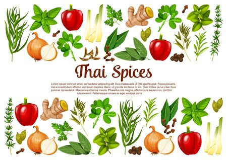 Thai spices, herbs, seasonings vector herbal cooking ingredients. Paprika or bell pepper, lemongrass and spicy ginger, onion with rosemary. Sage and bay leaf, cloves and cardamom pods spice poster