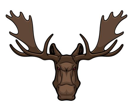 Angry elk or moose mascot with horns, isolated animal head vector icon, hunting club or sport team mascot emblem. Wild forest elk, cartoon hoofed horned mammal herbivore muzzle with red eyes