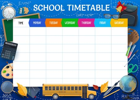 School timetable, weekly pupil education schedule vector template. Textbooks, school bus and bell, globe, alarm clock, autumn leaves and sketch chalkboard formulas. Week planner, timetable