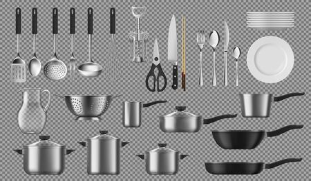 Kitchenware and tableware, dishware and crockery vector cooking set. Isolated tableware plates, cookware pots, ladle and skimmer, silver fork and spoon. Corkscrew, colander and pitcher, saucepans