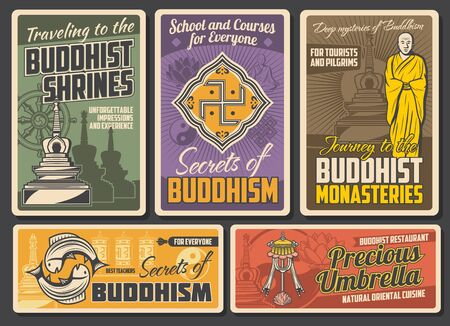 Buddhism religion retro posters. Vector Buddhist stupa building, tibetan monk, golden fishes and precious umbrella. Buddhism religion dharma and prayer wheel, Yin Yang symbol