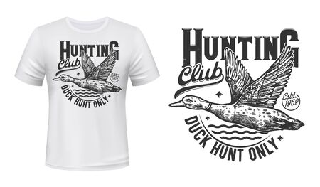 Duck hunting t-shirt print, hunters club vector mascot symbol. Flying mallard on pond and monochrome typography on white apparel. Wild waterfawl hunting adventure sport, t-shirt template design