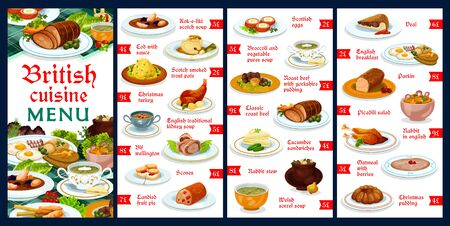 Britain cuisine menu template vector meals kok-e-liki scotch soup, cod with sauce, scotch smoked trout plate, christmas turkey, english traditional kidney soup, beef wellington, English food dishes