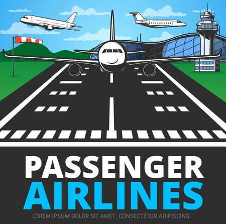 Runway with landing plane vector poster. Airplane alight or take off from airstrip in airport with terminal building, flying aircrafts and control tower. Commercial aviation service, aerodrome hub