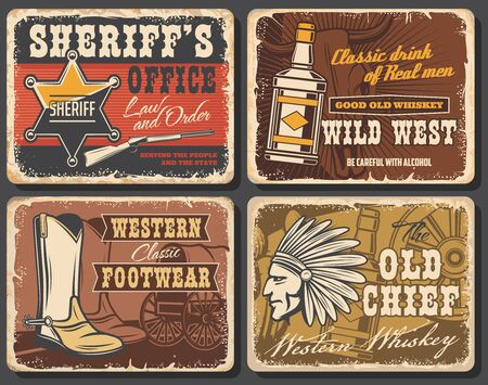 Wild west retro posters set, vector grunge cards with sheriff star, whiskey bottle, cowboy shoes and Indian warrior with plumage feather headdress. Vintage wild west wagon wheel or Western stagecoach Ilustração