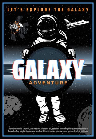 Astronaut or spaceman in outer space, vector with glitch effect. Spaceman galaxy explorer in spacesuit fly in starry sky with planets, satellite and shuttle. Universe exploration adventure