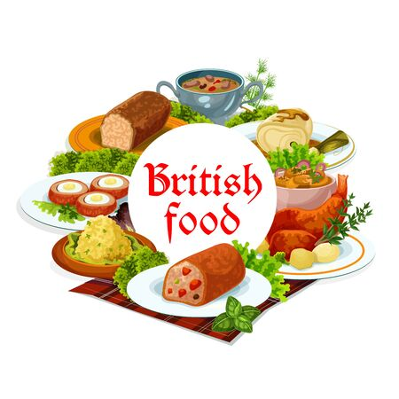 Britain cuisine vector meals cod with sauce, scotch smoked trout plate and christmas turkey, traditional. Kidney soup, candied fruit pi or scottish eggs, english breakfast, parkin dishes round frame