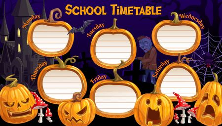 School timetable, weekly schedule vector template with cartoon Halloween jack-o-lantern pumpkins and spooky characters. School time table with zombie, bat, spider and fly agaric on cemetery and castle Ilustração