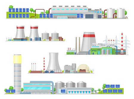 Nuclear and power plant, gas station isolated vector building icons. Industrial buildings and factory facilities, energy production. Nuclear reactor and pipes, air pollution industrial pipelines Illusztráció