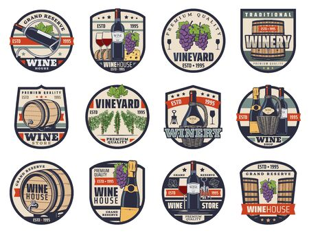 Wine, winemaking and viticulture isolated vector icons. Shop, wine bottles, glasses and grapes, champagne, cheese, bread and vineyard vines. Alcohol drink and food snack, grand reserve labels set