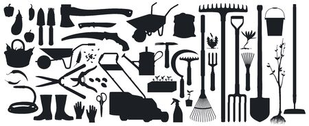 Gardening, farming tools, instruments and equipment isolated vector black silhouettes. Farmer and gardener shovel, ax, knife and wheelbarrow, saw. Fruits and vegetable harvest, seeds and sprouts set Imagens - 147901187