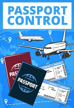 Passport control airport service. Vector card with airplanes flying in sky with Gps navigation pins, flight tickets and foreign passports, international airport aviation and travel service