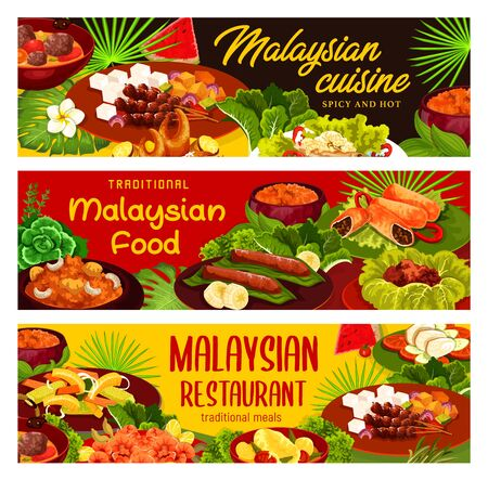 Malaysian cuisine restaurant meals. Dishes with stewed meat, fish and seafood products, marinaded vegetables and exotic fruits desserts, curry and soup with ribs. Malaysian menu vector covers design