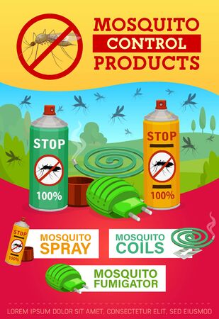 Pest control, mosquito disinsection repellents. Home insects disinsection and health protection. Mosquito fumigation tools, electric repellent, coil spiral and aerosol. Pest control vector poster Vectores