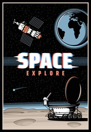 Outer space and planet explore, vector poster with glitch effect. Galaxy exploration, universe adventure design with lunar rover walk on moon surface with craters, satellite on earth orbit in universe