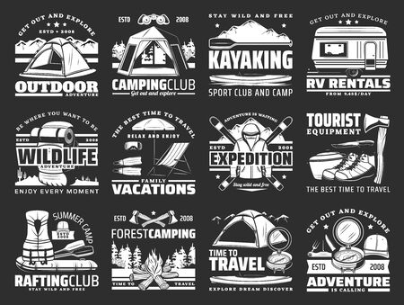 Sport, travel and active leisure vector icons. Hiking and camping tools, ski and mat, travel trailer and tent, axe and boat, backpack and rafting equipment. Kayaking sport, campfire and rv van rent Ilustração