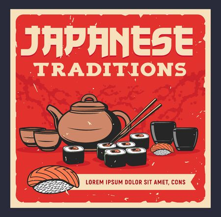 Japanese tea, sushi and sake. Asian traditional meal and drinks, food and beverages. Sashimi, sushi rolls with chopsticks, teapot with tea and rice alcohol drink vector retro poster  イラスト・ベクター素材