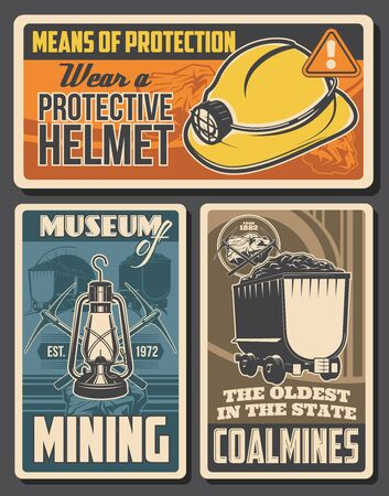 Coal mining retro posters. Miners equipment helmet with kerosine lamp, crossed pickaxes and trolley with ore. Vector vintage mining industry cards. Coal production and extraction digging tools Ilustração Vetorial
