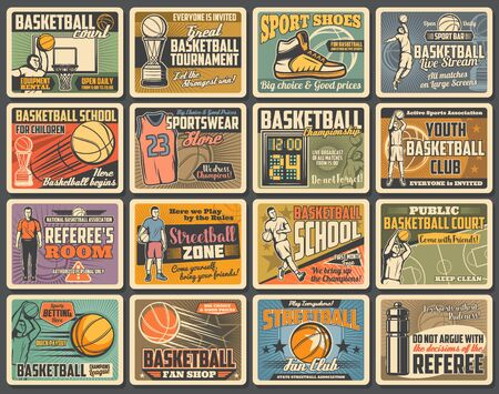Basketball sport player retro posters with vector balls, baskets and hoops. Basketball team game courts, winner trophy cups, uniform jersey and sneakers, championship match scoreboard and referee 向量圖像