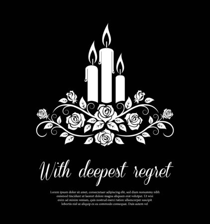Funeral card vector template, monochrome burning candles and rose flower ornament. Vintage condolence funeral card with deepest regret typography. Obituary memorial, remembrance retro funeral poster Illustration