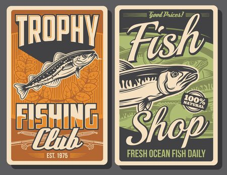 Fishing retro posters. Vector mackerel and codfish with rods and laurel wreath. Fishing club tournament, fisherman equipment, trophy or fish tackle. Active sport competition, outdoor activity or hobby