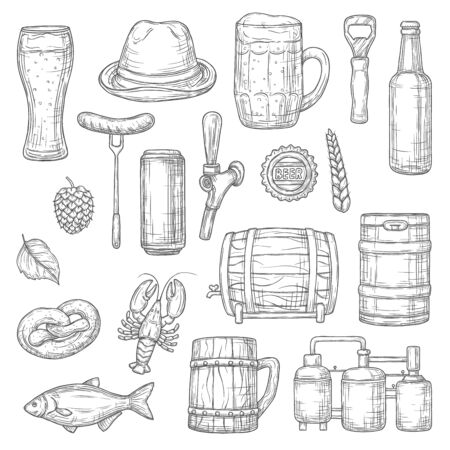 Beer alcohol drink isolated sketches of brewery, bar and pub vector design. Glass, bottle and mug of craft beer, ale and lager barrel, wheat, hop, sausage and pretzel, brewing tank and keg objects