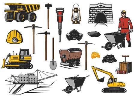 Ore and coal mining industry equipment vector icons. Coal mine dump truck, miner helmet, pickaxes, shovel and oil lamp, gold and iron coal, ore pit excavator, jack hammer, digger, rail cart and tunnel Ilustracje wektorowe