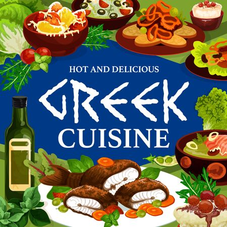 Food of Greek cuisine, vector meal of fish, vegetable, meat and seafood dishes. Baked lamb with feta, pepper and tzatziki sauce, cod cream soup, mushroom stew and squid in wine, trout and rice pudding