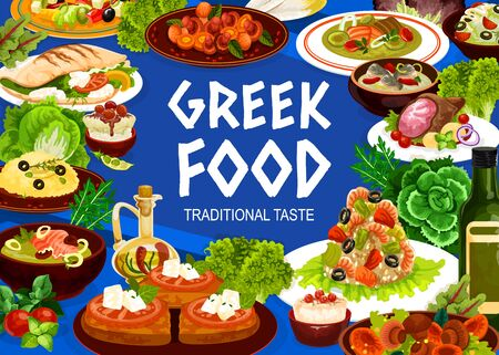 Greek cuisine seafood, vegetable and meat meal, vector food. Salad of feta, olives and tomatoes, shrimp risotto, grilled lamb and cod, fish cream soup, rice pudding dessert, roe dip and mushroom stew