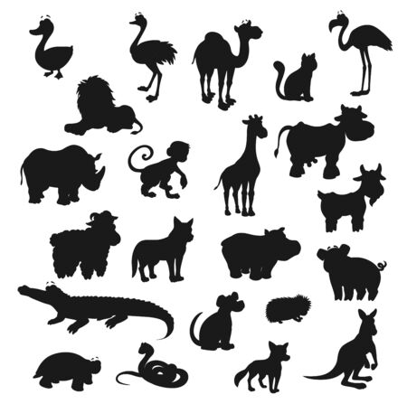 Cartoon animals, isolated black silhouettes. Vector wild lion, fox, safari giraffe and monkey, farm cow, goat, pig, dog and cat. Duck and croc, ostrich and flamingo, rhino, camel, snake and turtle