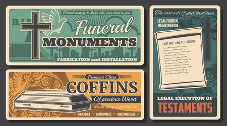 Funeral coffin, monument and testament vector design of burial or cremation service. Cemetery grave, tombstone and cross, memorial ceremony flower wreath with ribbon, dove and last will retro banners Illusztráció