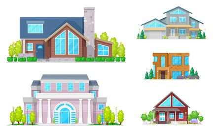 House buildings of real estate vector icons. Two storey homes, cottage, villa and bungalow, mansion and townhouse with front doors, windows, roofs and chimneys, garage, porch and mansard