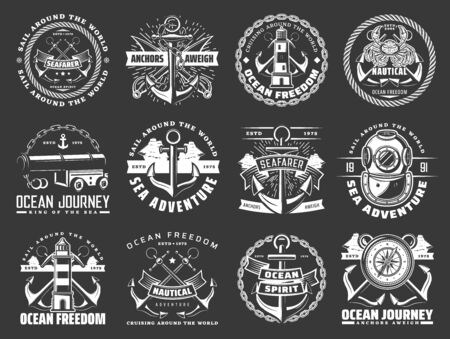 Nautical icons with sea ship anchors, chains and ropes of marine travel or journey. Vector sail boats, sailor compass roses, lighthouses and diver helmet, naval cannon, swords and crab, naval heraldry