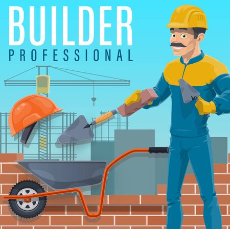 Builder or bricklayer laying a bricks on construction site. Cartoon vector worker character in hard hat building a wall with trowel, cement mortar, wheelbarrow and gloves. Construction industry