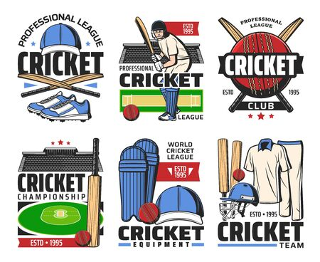 Cricket sport icons with vector game balls, bats, stadium play fields and batter player, uniform helmet, caps, pads and gloves. Cricket competition, championship match and sporting club symbols design