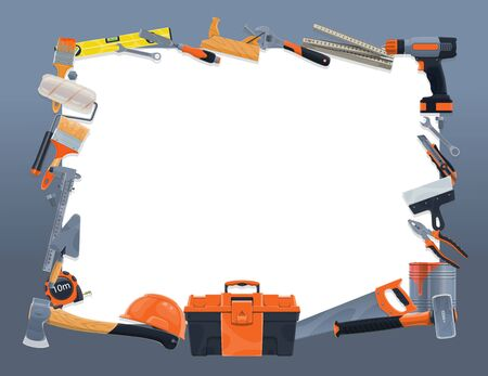 Construction and repair tools vector frame border. Hammer, drill, paint, brush and roller, toolbox, helmet, spanner and wrench, pliers, trowel, spatula and tape measure, axe, saw and knife brocade